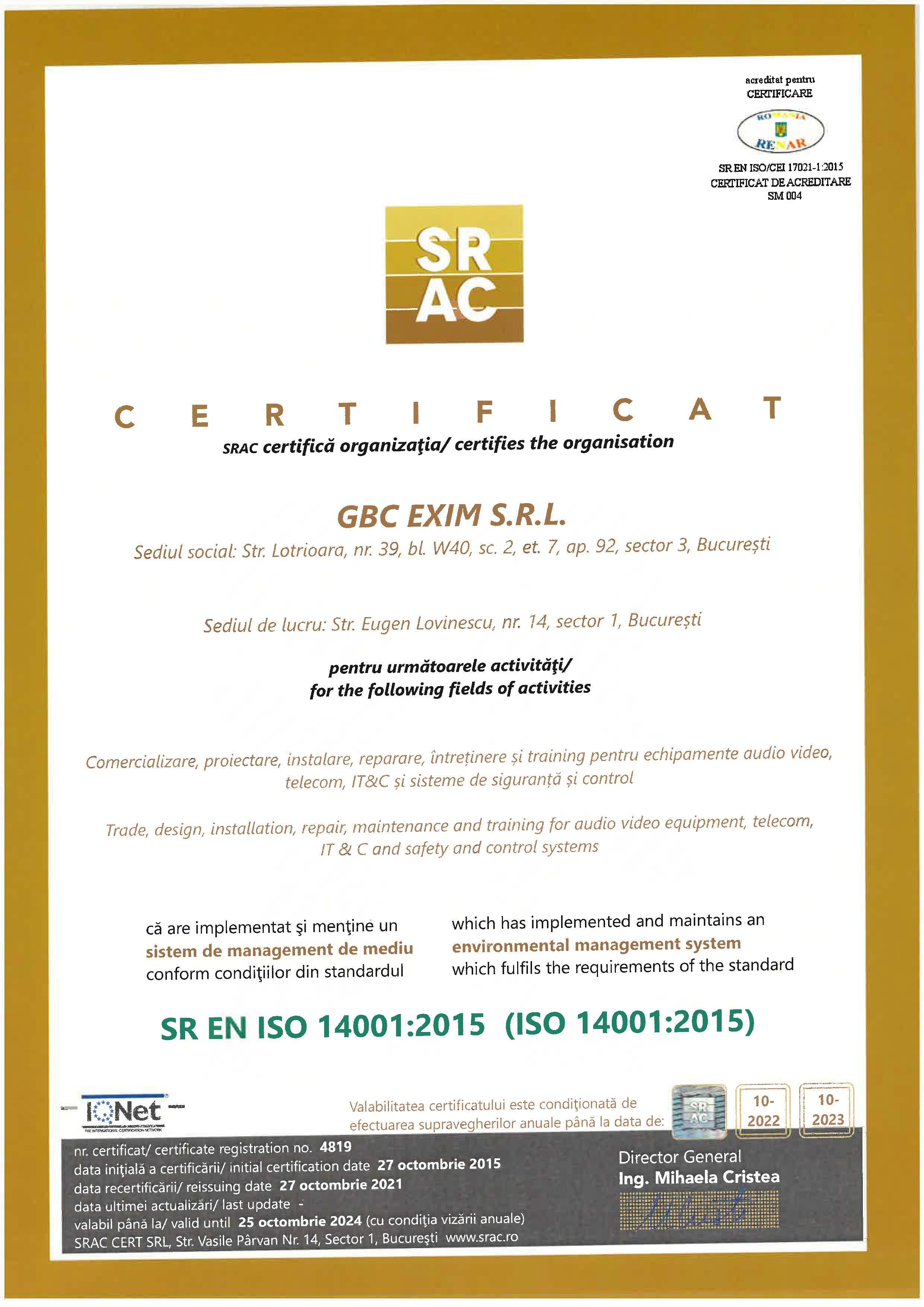 Certificare SR EN ISO 14001:2015