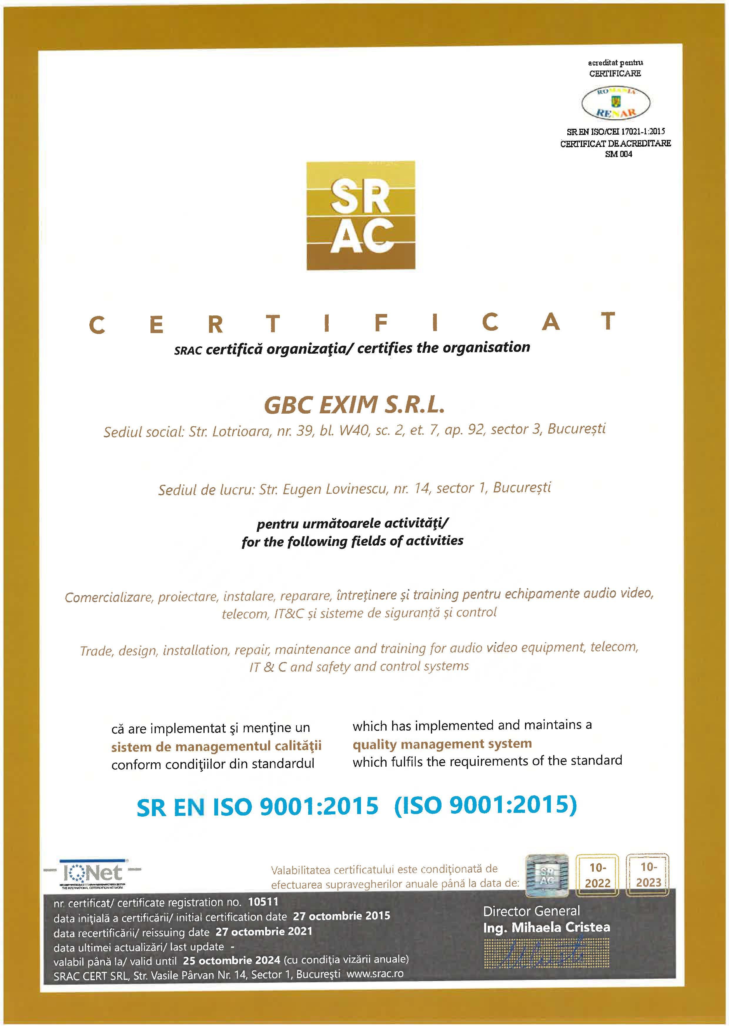 Certificare SR EN ISO 9001:2015
