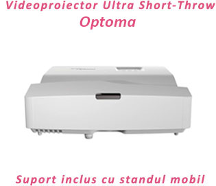 videoproiector Ultra Short Throw Optoma W330UST cu suport