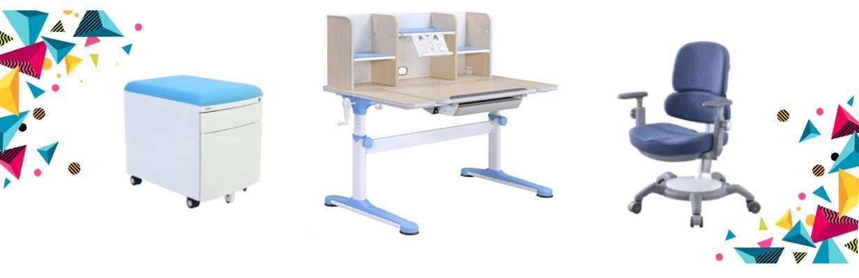 Set birou pentru copii reglabil SingBee, culoare albastru