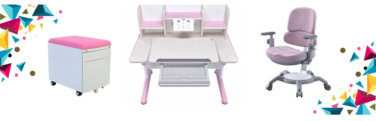 Set birou pentru copii reglabil SingBee, culoare roz
