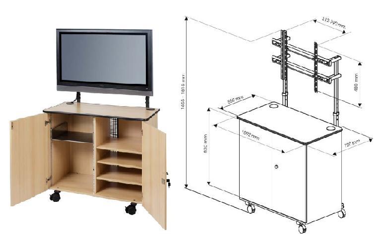 Cabinet mobil multimedia cu suport ecran LCD Plasma Vega ST 42