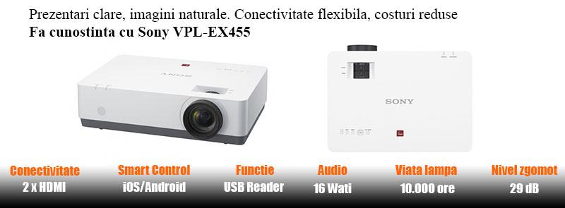 Videoproiectorul Sony VPL-EX455 caracteristici