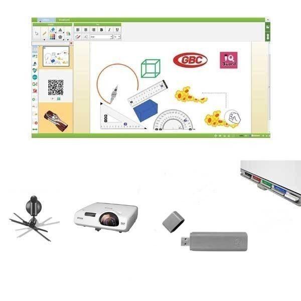 "Pachet interactiv IQboard Expert ST 94"" - Bright Minds cu pentray interactiv si adaptor wireless USB (fara umbre)"