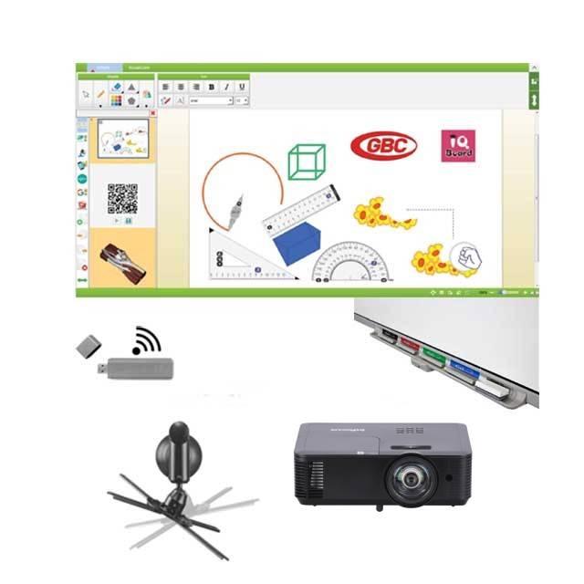 "Pachet interactiv IQboard Expert ST 101"" Visionary Minds cu pentray interactiv, incinte acustice integrate si adaptor wireless USB"